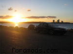 My car in QLD...with a bright sunset