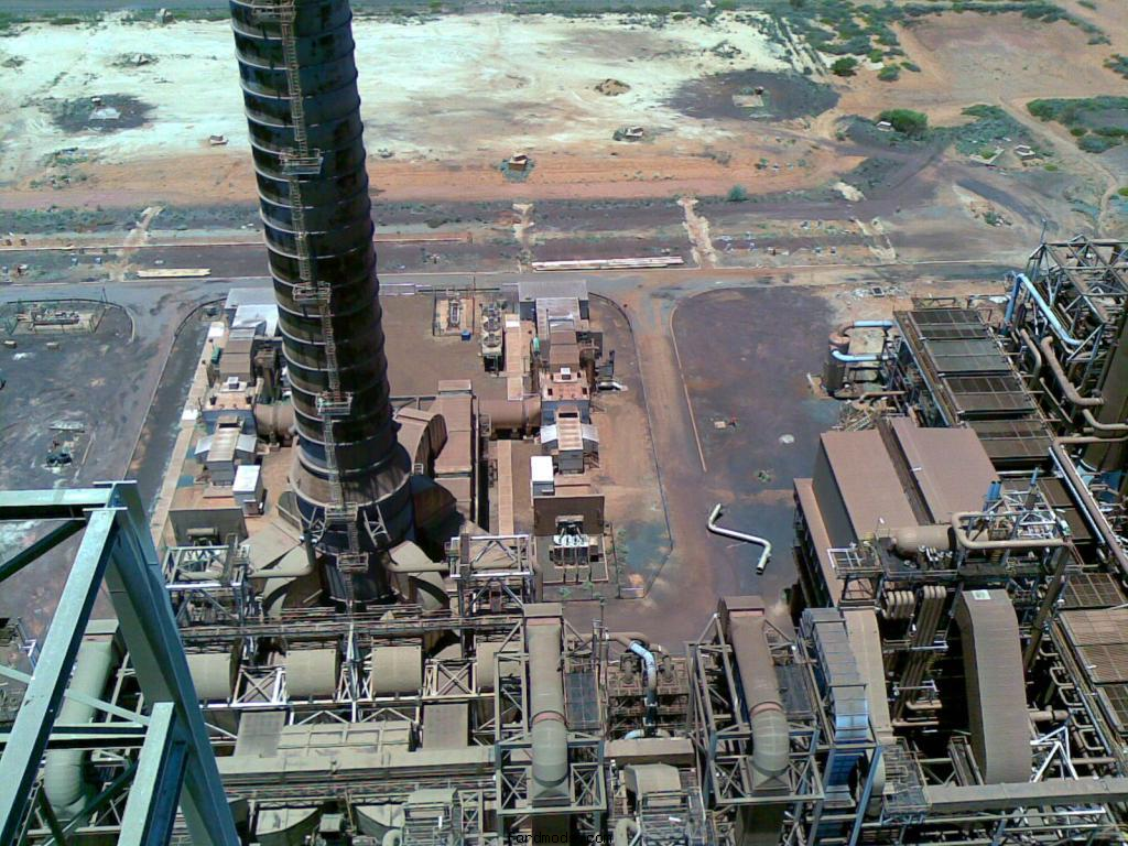 Looking at the gas plant in BHP HBI Boodarie near Port Headland