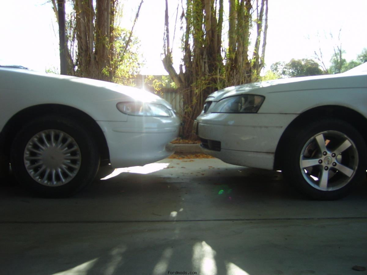 My car (EL on the left) In front of dads BA wagon. :-)