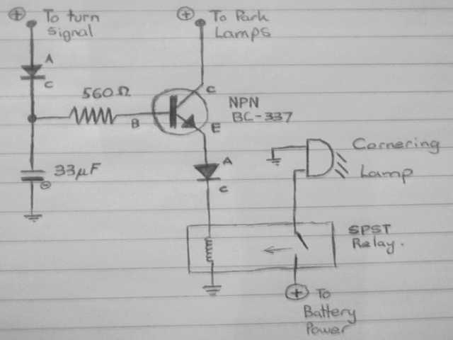 The Cornering Lamp circuit, schematics