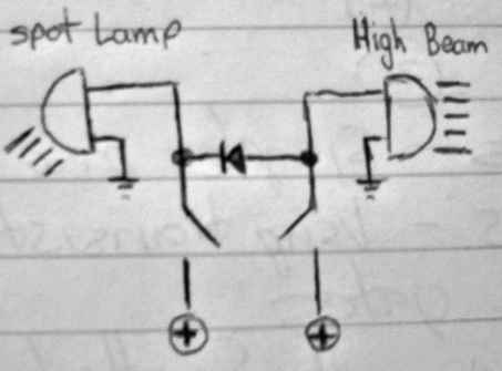 An example of how a Diode is used for spot lamps