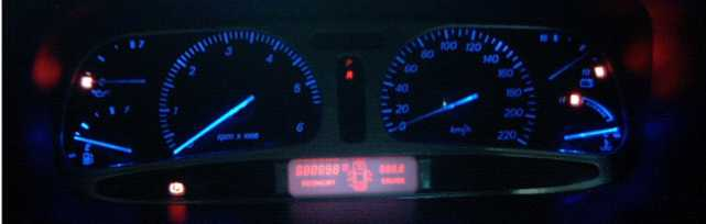 The Fitted NF Fairlane cluster, converted to Blue Led's