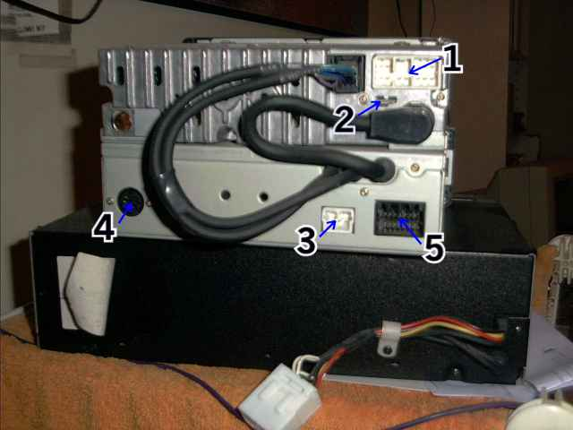 The Back of the Premium Sound System Deck, showing the 5 Connectors