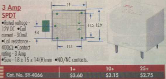 Jaycar SY-4066 Relay Connection Information