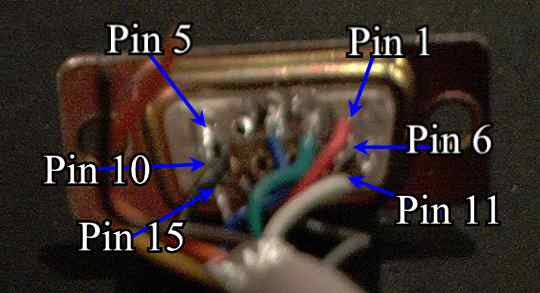 The VGA Solder Connector with pin out information