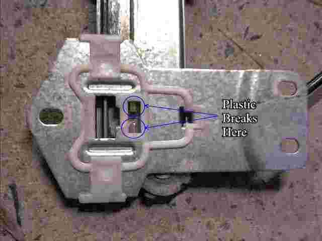 A Picture of a Window Winder, showing the Plastic Clips that break with force